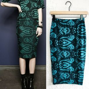 Topshop Jacquard Floral Fitted Midi Pencil Skirt
